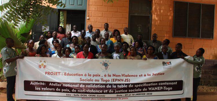 Atelier national de validation de la table de spécification contenant les valeurs de paix, de non-violence et de justice sociale de WANEP-Togo